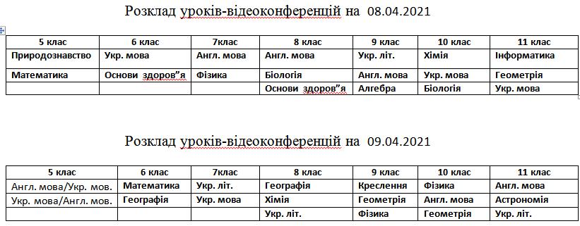 Розклад 08.04 09.04