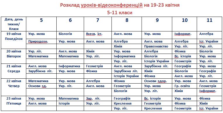 Розклад 19-23.04